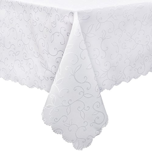 Square Rectangular Dining Tables (Stain Resistant Turkish White Tablecloth Polyester Table Linen, Rectangular, Square, Round, Washes Easily, Non Iron - Thanksgiving, Christmas, Dinner, Wedding, Parties (Rectangular 60