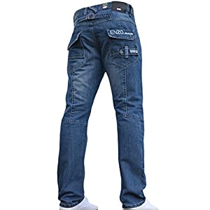 Enzo BNWT New Mens Jeans Blue Designer Straight Washed All Waist & Sizes