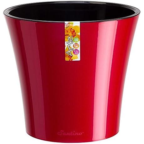 Santino Arte Self Watering Planter 4 3 Inch Red Pearl Black