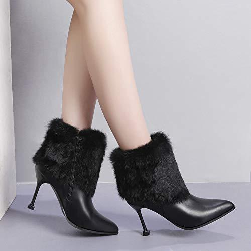 HRCxue Pumps Pumps Pumps 10CM Super High Heel spitzes Stiletto Plus Socken für Damen 03033c