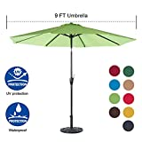 Sundale Outdoor 9 Feet Aluminum Market Umbrella Table Umbrella with Crank and Auto Tilt for Patio, Garden, Deck, Backyard, Pool, 8 Alu. Ribs, 100% Polyester Canopy (Lime Green) For Sale