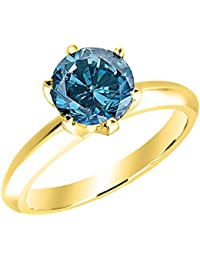 1/2-10 Carat Total Weight Round 18K Yellow Gold Round Blue Diamond Ring (AAA Quality)