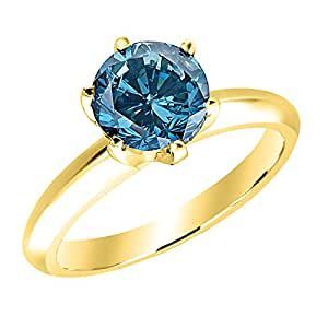 2 Carat 18K Yellow Gold Round Blue Diamond Solitaire Ring (AAA Quality)