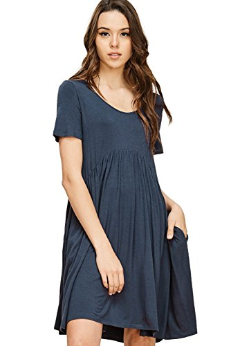 Essential Scoop Neck Short - Annabelle Women's Plus Size Pleated Empire Waist Loose Relaxed Short Sleeve Scoop Neck Short Dress with Slant Pockets Slate XX-Large D5419