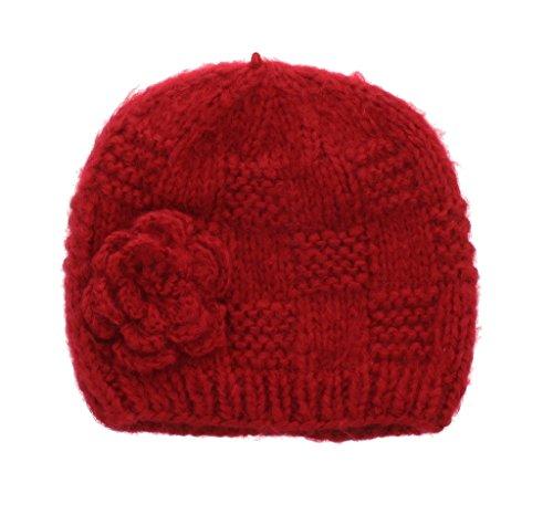 - Milani Women's Warm Fashion Hand Knit Beanie Cap with Crochet Flower Design in Red