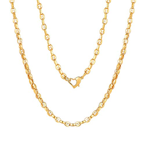 (Mens Gold Chain Coffee Beans Puffed Marina Chain Stainless Steel Mens Necklace Heavy Golden Link Chain Bracelet Boys Jewelry)