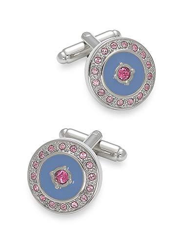 Crystal Round Cufflinks (Paul Fredrick Men's Swarovski Crystal \ Enamel Round Cufflinks Pink/blue 000)