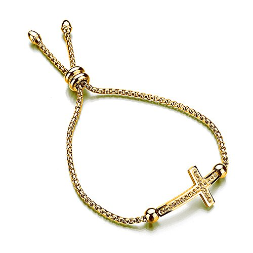 MYOSPARK Cross Bracelet Sideways Cross Adjustable Bracelet Christian Bracelet Religious Jewelry Gift for Her (Gold ()