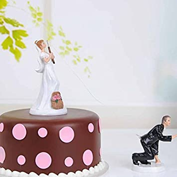 QTMY Funny Fishing Wedding Cake Toppers Couple Decorations Suppliers