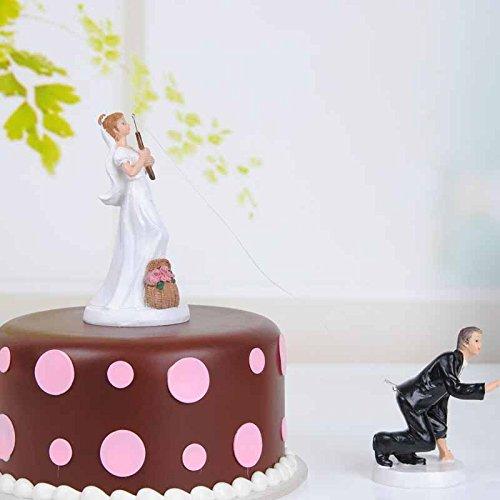 Fishing Wedding Cake Topper (QTMY Funny Fishing Wedding Cake Toppers Couple Wedding Decorations Suppliers)