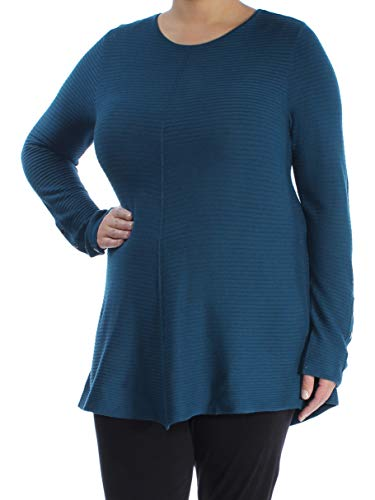 Alfani Womens Ribbed Jewel Neck Pullover Sweater Blue XL