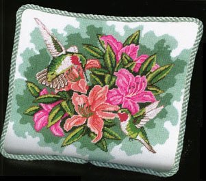 (Hummingbirds and Lilies Pillow - Needlepoint Kit)