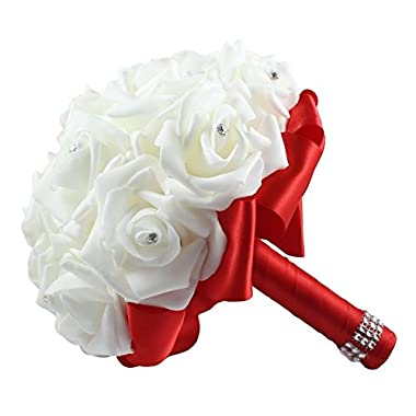 OurWarm Red Crystal Roses Pearl Bridal Bridesmaid Wedding Bouquet Artificial Silk Flowers