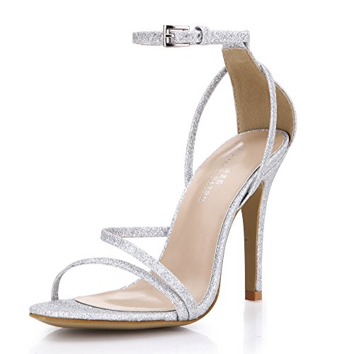 Women Wedding Bridal Bridesmaid Silver Simple Thin Heels Open Toe Sandal High Fashion Elegant Classic Dress Heeled Pumps Strap Buckle Ankle Strappy Slender Pub Club Evening Party Court Shoes SM00230 (Silk Evening Shoes)