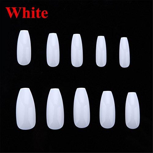 Flat Card Ballerina (500Pcs/Bag Ballerina Nail Art Tips Clear/Natural Coffin Nails Art Tips Flat Shape Full Cover Manicure Nail Tips A0499 White)