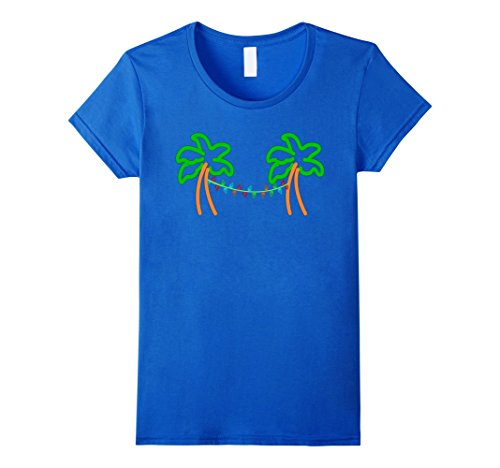 (Womens Palm Tree Christmas Lights Retro Neon Sign Graphic T-Shirt Large Royal Blue)