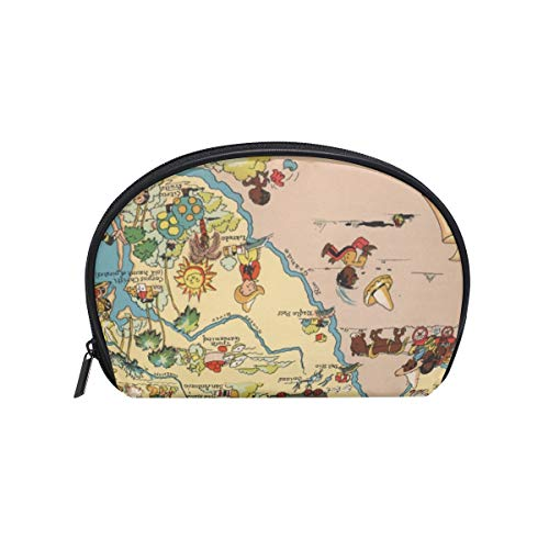 Makeup Cosmetic Bag Texas State Map Cartoon Pattern with Zipper (Texas Map Cartoon)