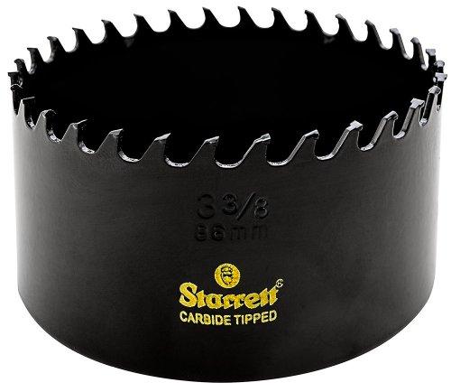 Starrett CT338 Steel High Performance Triple Chip Tungsten Carbide Tipped Hole Saw, Carbide Teeth, 3-3/8