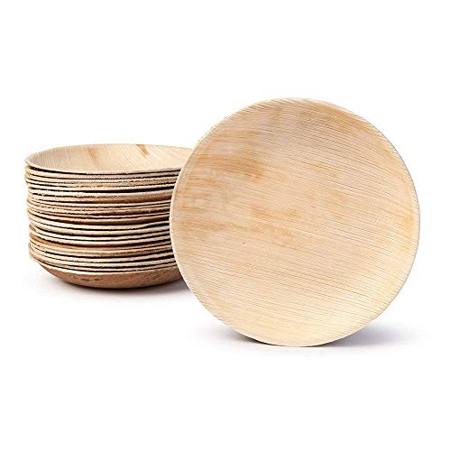 Small Palm Leaf Appetizer Plates - Shallow Bowls - Environmentally disposable tableware| 25 pieces | 4 Inches round | Bamboo Style | Biodegradable & Compostable | Finger Food, Small Bites, Sauce Dish