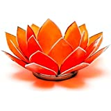 trovare qualcosa di diverso Capiz Shell Orange Silver Trim Lotus chakra Tea Candle Holder, bambù, multicolore