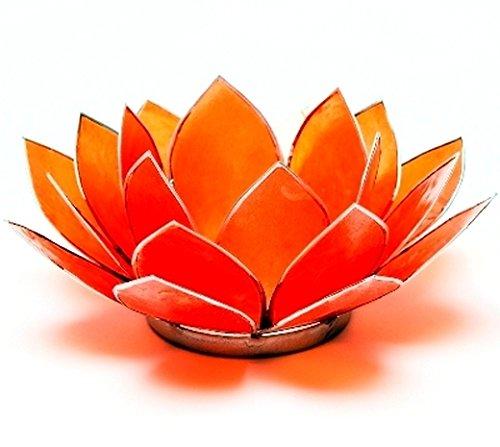 SomethingDifferent Lotus Chakra Candle Holder Capiz Shell Orange Silver (Orange Candle Holders)