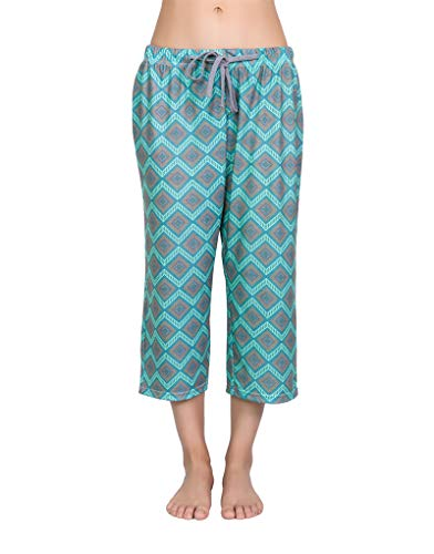 YIJIU Women's Pajama Lounge Capri Pants Print Comfy Casual Sleepwear Loose PJ Bottoms