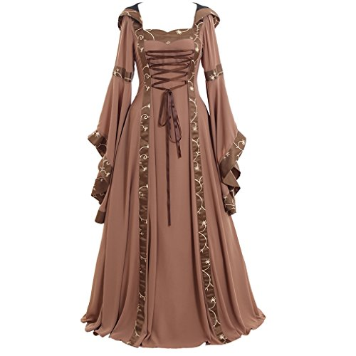 CosplayDiy Women's Maria Olive Green&Copper Victorian Dress Costume XXXL (Renaissance Plus Size)
