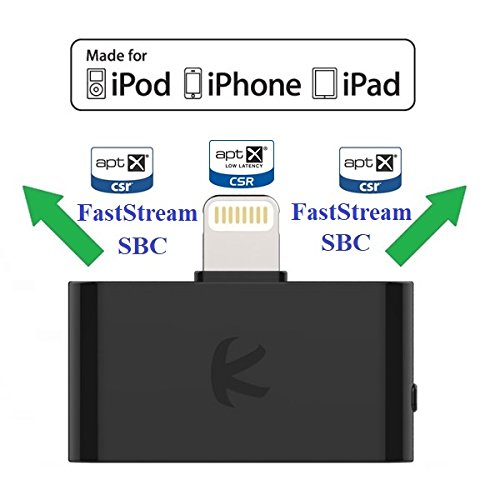 KOKKIA i10L_Pro (Black) : DIGITAL Bluetooth Splitter Transmitter with switchable aptX/Low-Latency aptX/FastStream/SBC codecs,compatible with Lightning Connector,compatible with iPhone,iPad,iPod Touch. by KOKKIA (Image #7)