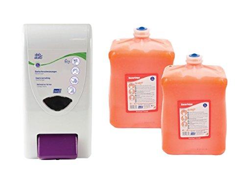 DEB Swarfega Orange Starter-Set 2 x 4 Liter Handwaschpaste inkl. Wandspender