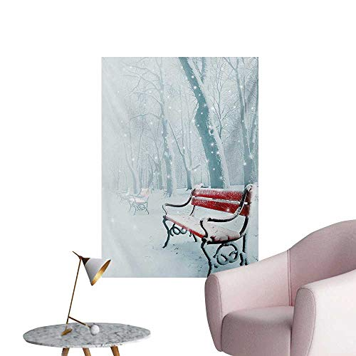 Anzhutwelve Forest Art Decor Decals Stickers Row of Iced Red Benches in A Parks Pathway Misty Crystalline in The Weather Forest PhotoWhite W32 xL36 Cool ()