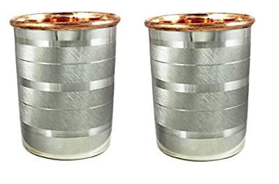 Christmas Gift/ Christmas Sale Crafts'man Set of 2 Steel & Copper Cups Water Tumbler Handmade W...