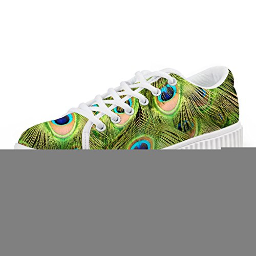 Bigcardesigns Multi Blommor Womens Plattform Mode Sneaker Spets-up Plan Storlek Multicolour6