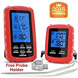 TLC52 Wireless Digital Meat Thermometer [New 2018 Model]| Remotely Monitored Food Temperature Measuring Unit & Receiver [300 Feet Range] | Remote BBQ, Grill, Kitchen Cooking, Baking & More