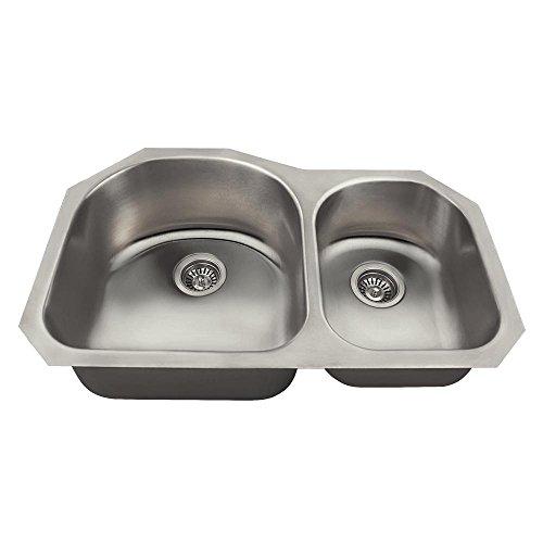 US1031L 18-Gauge Undermount Offset Double Bowl Stainless Steel Kitchen Sink