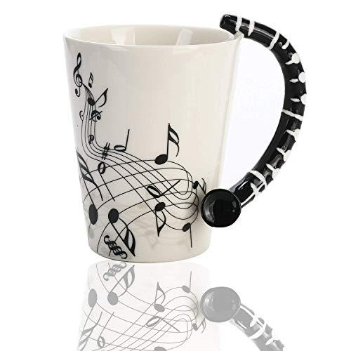 Novelty Clarinet Handle Music Mug Unique Art Musical Notes Holds Tea Coffee Milk Ceramic Mug Cup 12 oz Best Gift,Black