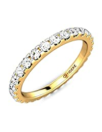 3/5 cttw (0.60 ct) Full Eternity Wedding/Engagement Diamond Ring for Women in 925 Sterling Silver & 14K Gold (I-J/SI1-SI2)