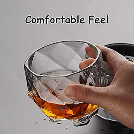 Vasos de Agua Único Whisky Vasos, Whisky/Borbón Gafas, cócteles, Roca, Pasado de Moda, Compre uno y llévese Otro Gratis, Diamante, Transparente, 11,8 oz Vasos de Cristal