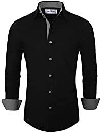 Mens black button down shirt is shirt for Tom s ware mens premium casual inner contrast dress shirt