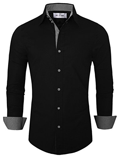 Tom's Ware Mens Premium Casual Inner Contrast Dress Shirt TWNMS314S-BLACK-US L