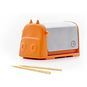 Home and Above Darling Little Cattle Toothpick Dispenser, Amazing Whimsical Design Looks Like Creative Colorful Cartoon Cow, Press the Top and Toothpick Comes Out Back