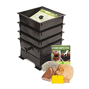 Image of Worm Factory DS3BT 3-Tray Worm Composter, Black Home and Kitchen
