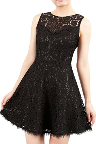 MACloth High Neck Sleeveless Lace Short Mini Cocktail Party Dress Formal Gown Gris
