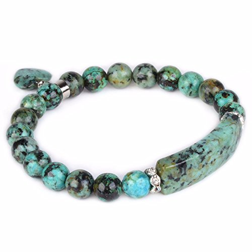 Natural African Turquoise Gem Semi Precious Gemstone Love Heart Charm Stretch Bracelet
