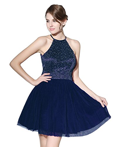 (Belle House Women's Keyhole Homecoming Dresses Halter Beading Prom Gowns Short 2019 Navy Blue)