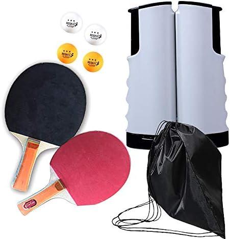 Juego de Paleta de Ping Pong, Juego de Paleta de Tenis de Mesa con Red retráctil, 4 Piezas de Bolas y Estuche portátil, Jugar en el Interior o al Aire Libre