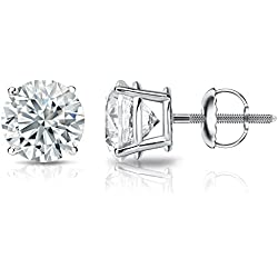 18k Gold Round Diamond Stud Earrings 4-Prong Basket-Screw Backs (1/4-2 cttw, H-I Color, I1-I2 Clarity)