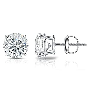 IGI Certified 14k White Gold Round Diamond Stud Earrings 4-Prong Basket-Screw Backs (2 cttw, G-H Color, SI1-SI2 Clarity)