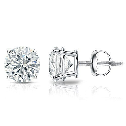 Tdw Prong Set - Diamond Wish 18k White Gold Round Diamond Stud Earrings (1/4 cttw, H-I Color, I1-I2 Clarity) 4-Prong Basket set with Screw-Back