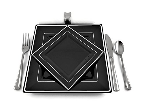 Square Black Disposable/Reusable Plastic Plates With Silver Rim
