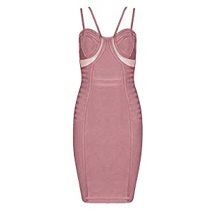 whoinshop Women's Rayon Strappy Bandage Party Dress with Nude Mesh Cut Panels (S, Pink)